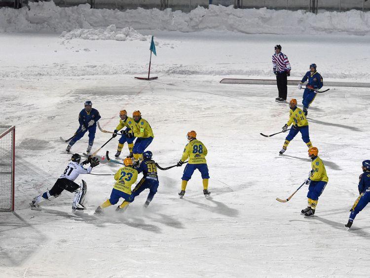 A Russian Super League bandy match in January 2016