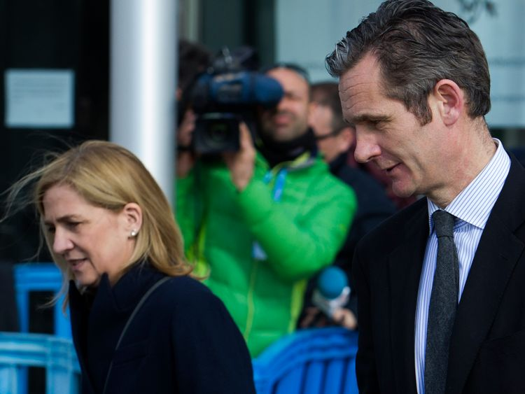 Princess Cristina and her husband, former Olympic handball player Inaki Urdangarin leave court in 2016