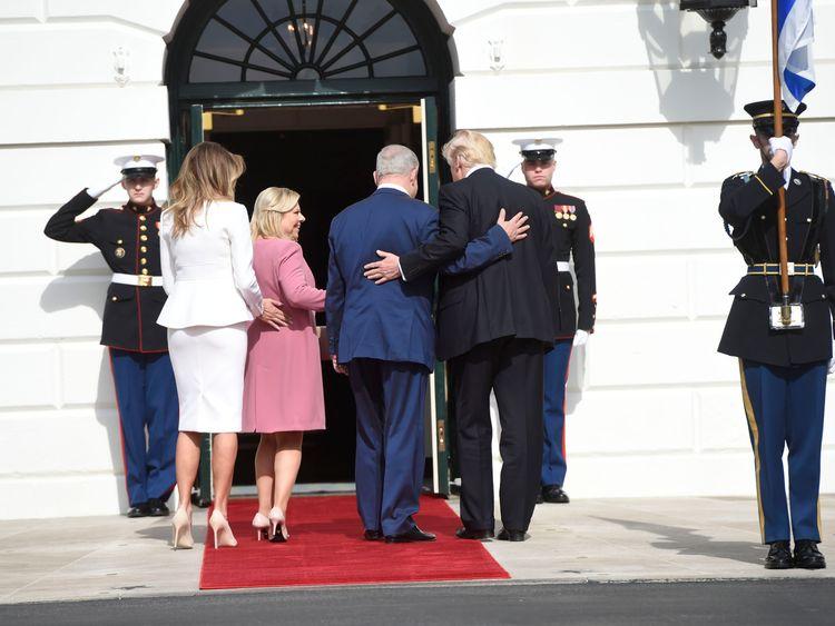 Donald Trump and Melania welcome Benjamin Netanyahu and his wife to the White House