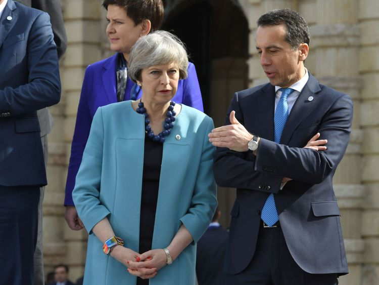 Theresa May and Christian Kern, Austrian chancellor, at an EU this month in Malta