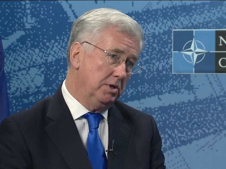 Sir Michael Fallon talks to Sky News
