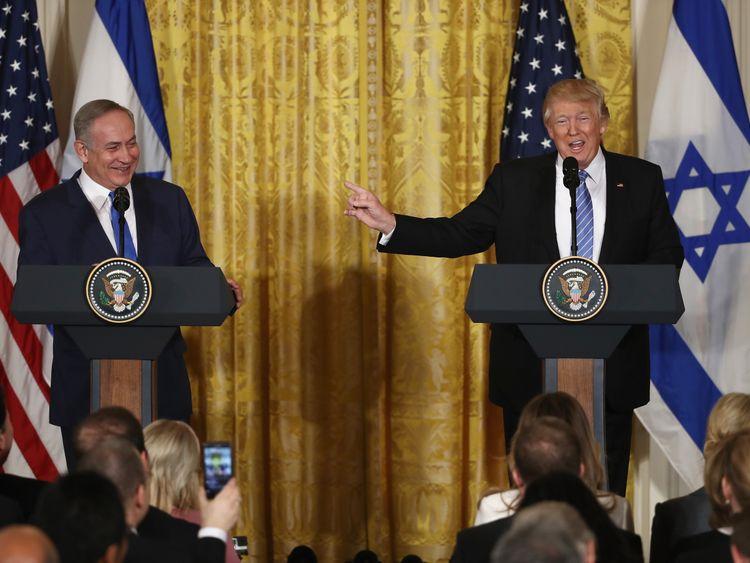 Donald Trump and Benjamin Netanyahu at the news conference