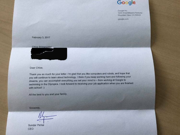 The reply Chloe Bridgewater got from Google. Pic: Andy Bridgewater.