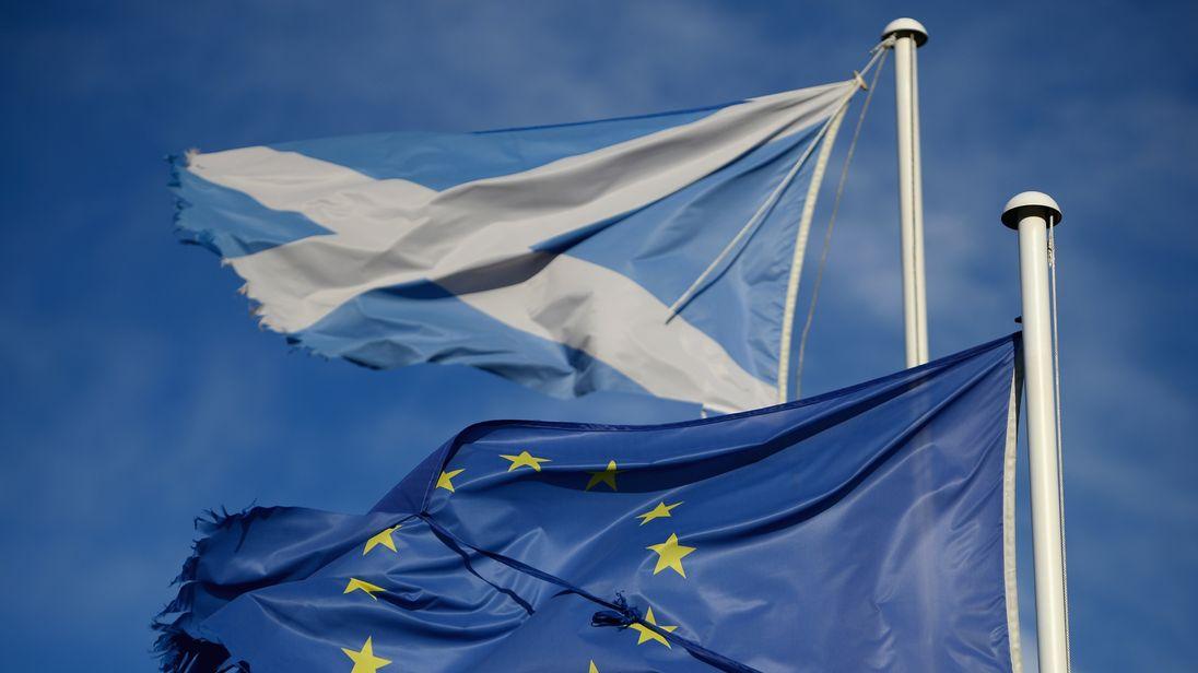 An EU flag and a Scottish Saltire