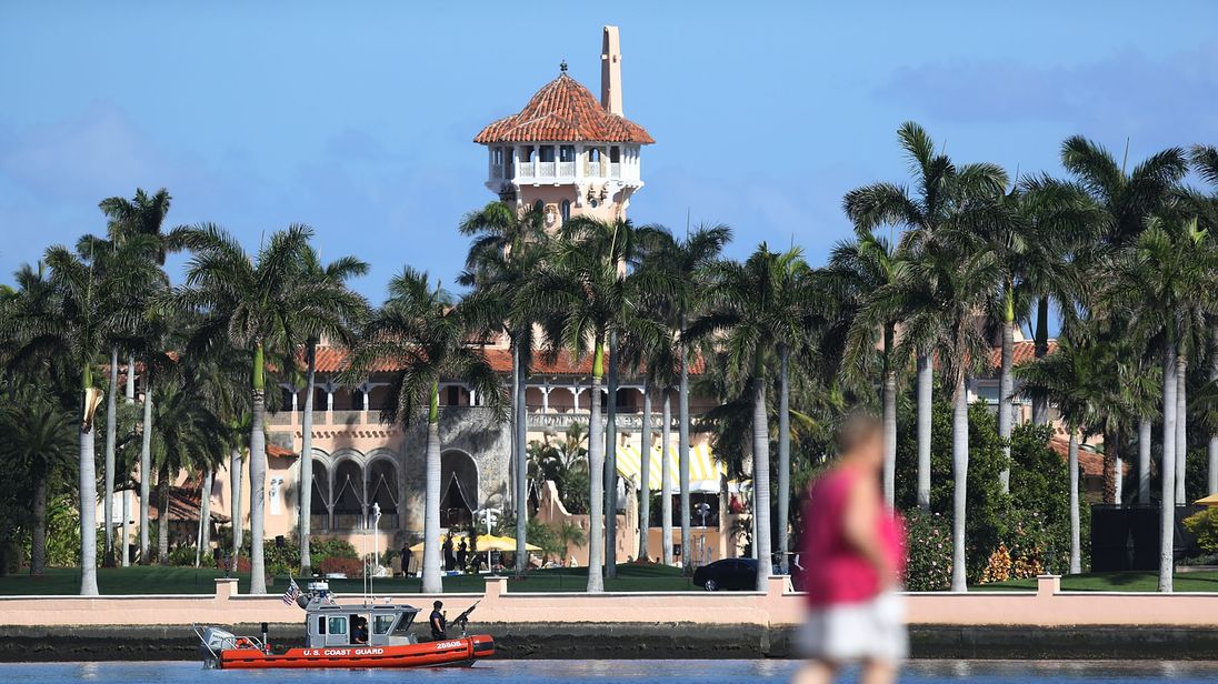 The Mar-a-Lago Resort is seen where President Donald Trump is hosting Japanese Prime Minister Shinzo Abe on February 11, 2017 in West Palm Beach, Florida. The two are scheduled to play golf as well as discuss trade issues
