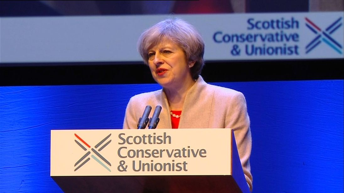Theresa May addressing the Scottish Conservative Conference