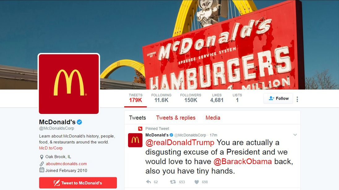A tweet attacking President Trump was sent from the McDonald's corporate account