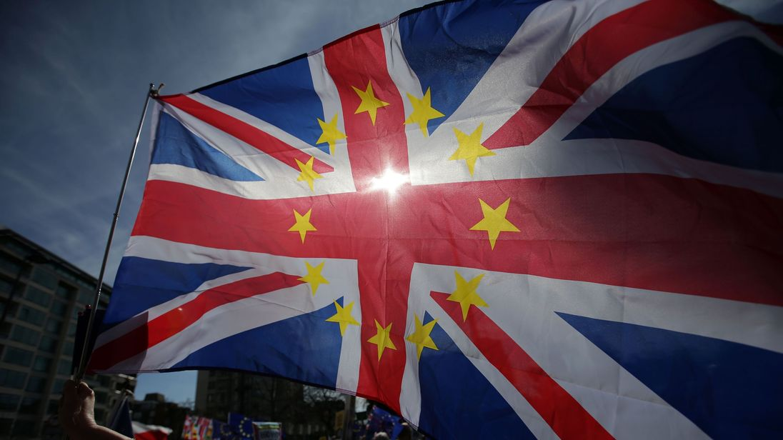A Union flag decorated with the stars of the EU flag during an anti-Brexit march in London