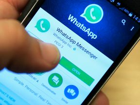 Whatsapp being used on a smartphone