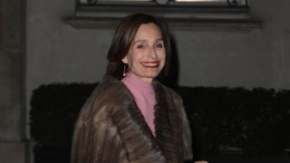 British actress Kristin Scott Thomas arrives for the dinner