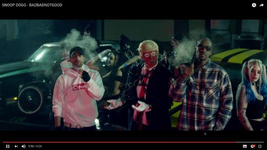 Donald Trump portrayed as a clown in Snoop Dogg's BADBADNOTGOOD
