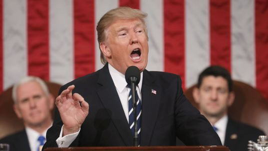 President Trump addresses a joint session of Congress for the first time. Pic: Getty