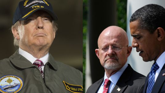Donald Trump and James Clapper with Barack Obama