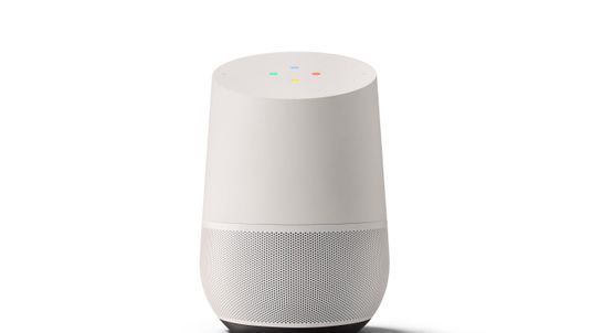 The Google Home speaker answers queries and provides information