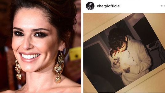 Cheryl and her partner, One Direction star Liam Payne, holding their first child