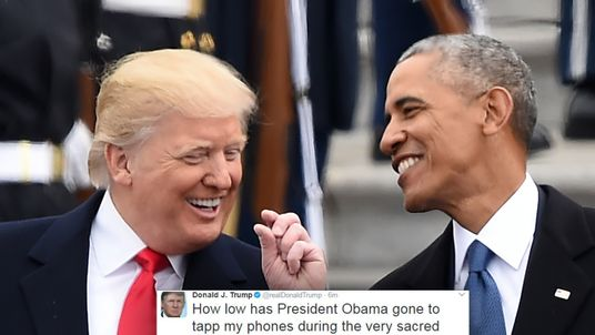 Donald Trump pictured shortly after his inauguaration with Barack Obama and his tweet (inset)