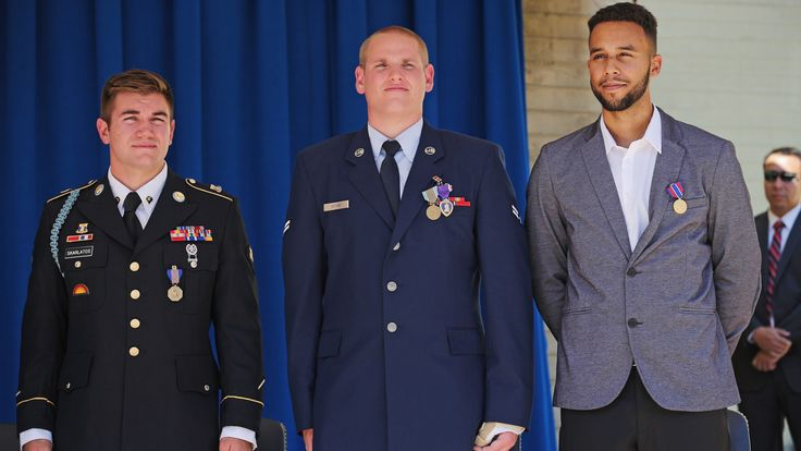 L-R: Alek Skarlatos, Spencer Stone and Anthony Sadler were honoured for subduing the gunman