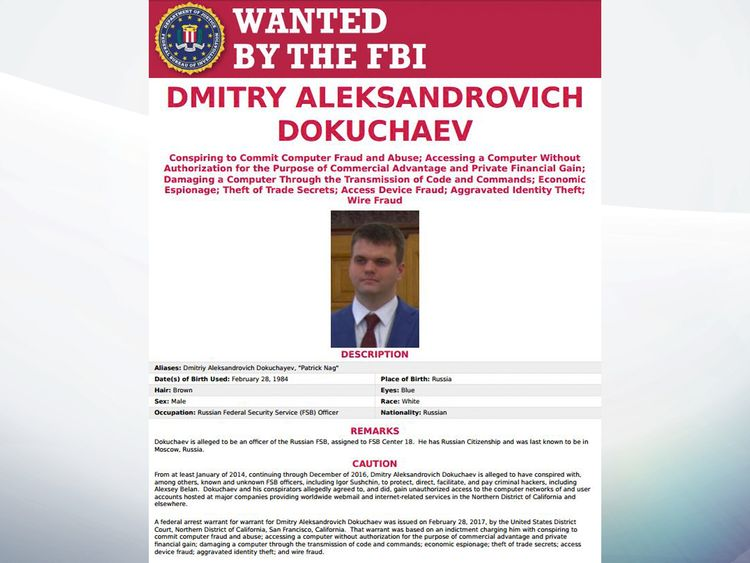 Dmitry Dokuchaev's FBI wanted poster