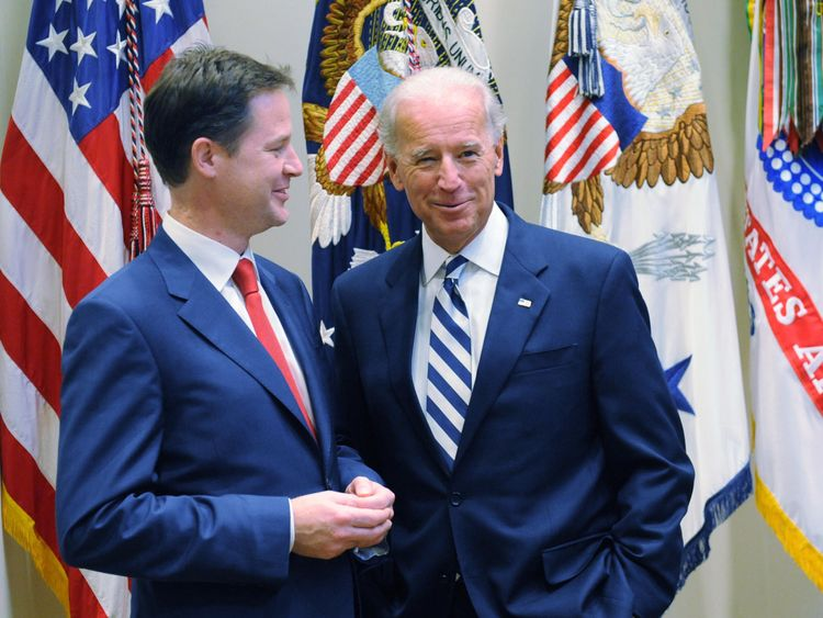 Deputy Prime Minister Nick Clegg meets with US Vice President Joe Biden (right) at the White House, Washington, United States, where they had lunch together.  23-Sep-2010