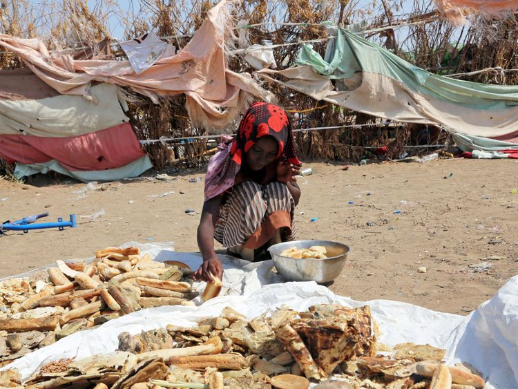 A girl from a poor Yemeni family living in a garbage dump in an impoverished coastal village on the outskirts of the Yemeni port city of Hodeidah, looks through scraps of bread on October 9, 2016.