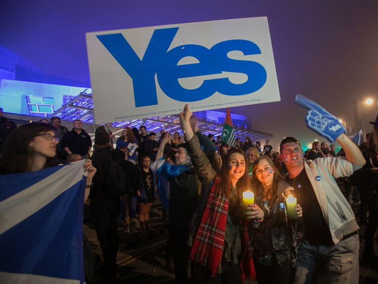 Pro-independence campaigners in 2014
