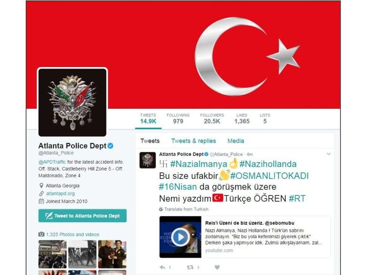 The Turkish flag was also used in the hack. Pic: @Atlanta_Police/Twitter