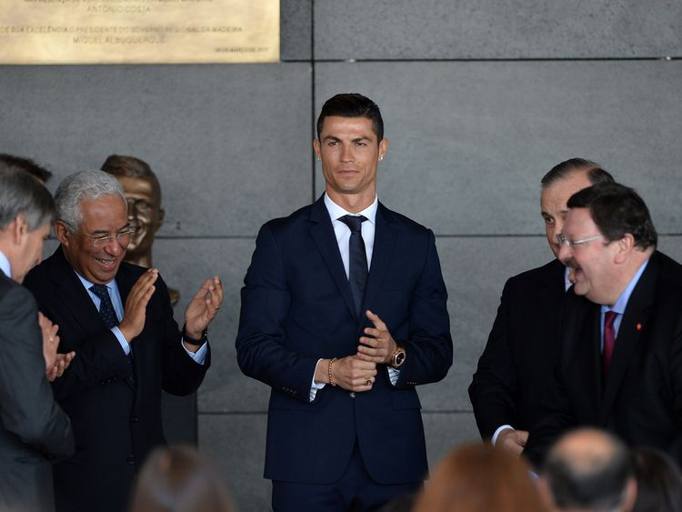 The footballer attended a ceremony to rename an airport in his native Madeira in his honour