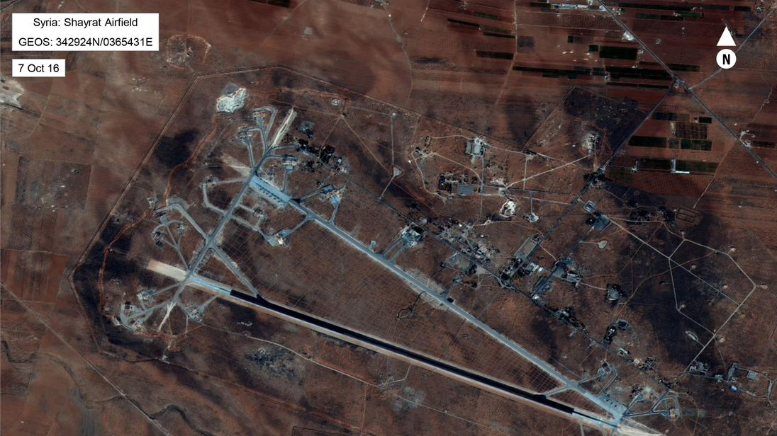 Shayrat Airfield in Homs, Syria is seen in this DigitalGlobe satellite image. Pic: US Defense Department