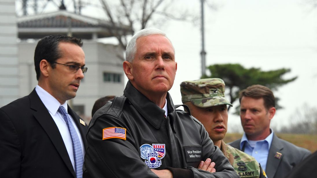 Mike Pence visits the village of Panmunjom in the DMZ between the two Koreas