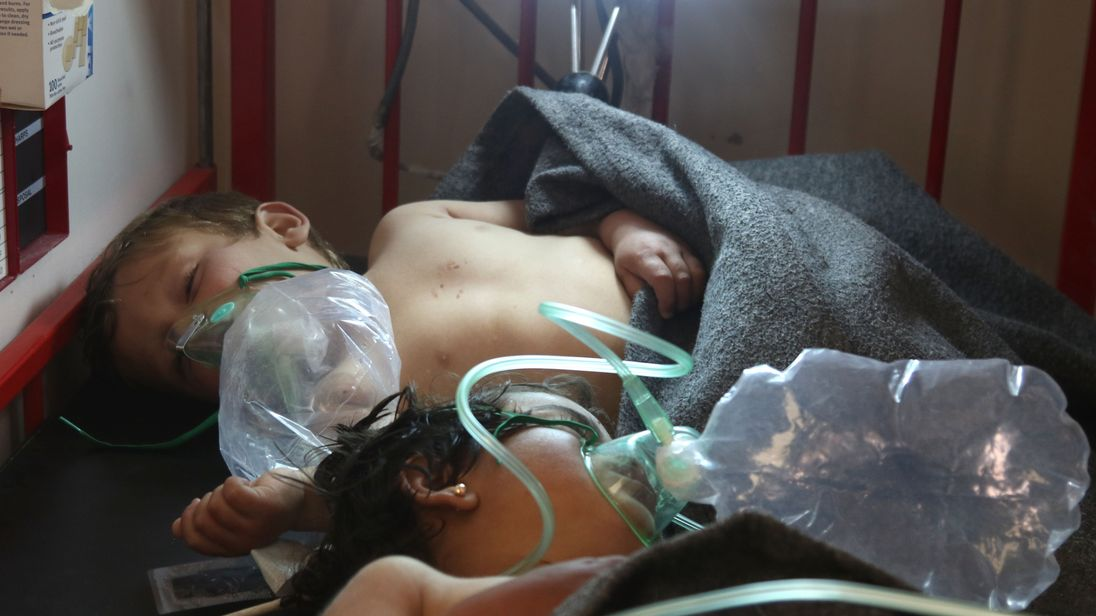 Syrian children receive treatment following a suspected toxic gas attack in Khan Sheikhun,  in the northwestern Syrian Idlib province