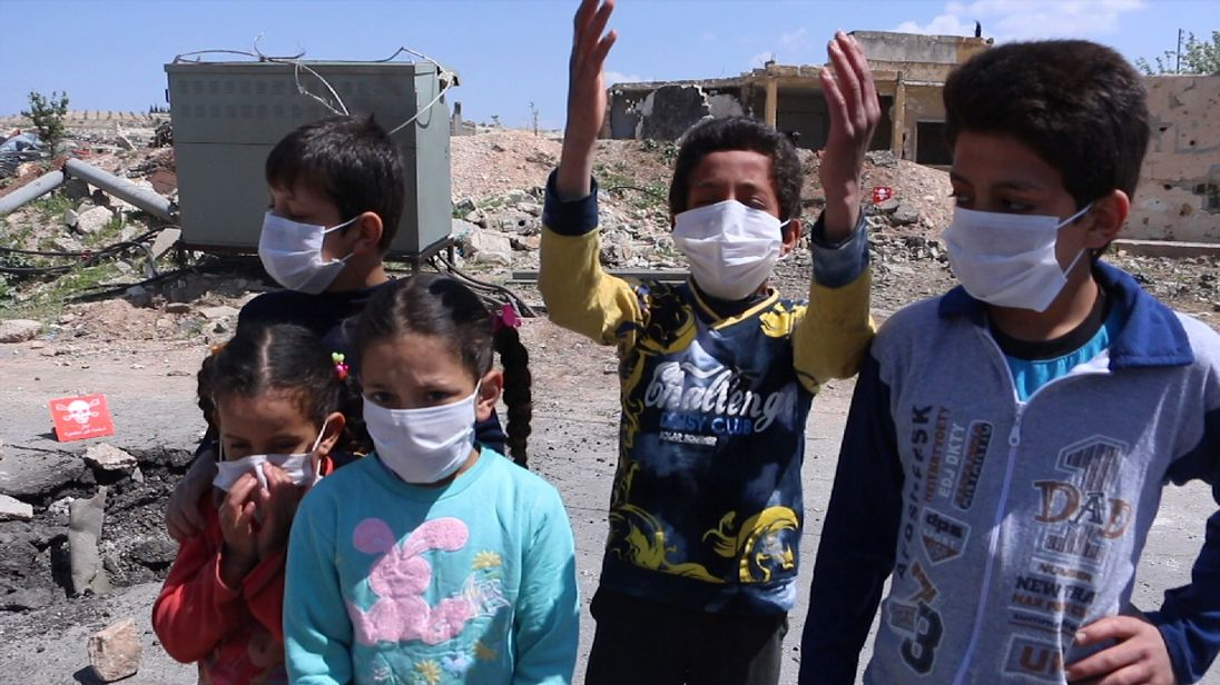 Children in Khan Sheikhoun in Idlib, where the chemical attack took place