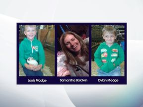 A police-issued photo of Samantha Baldwin and her two sons. Pic:  Nottinghamshire Police