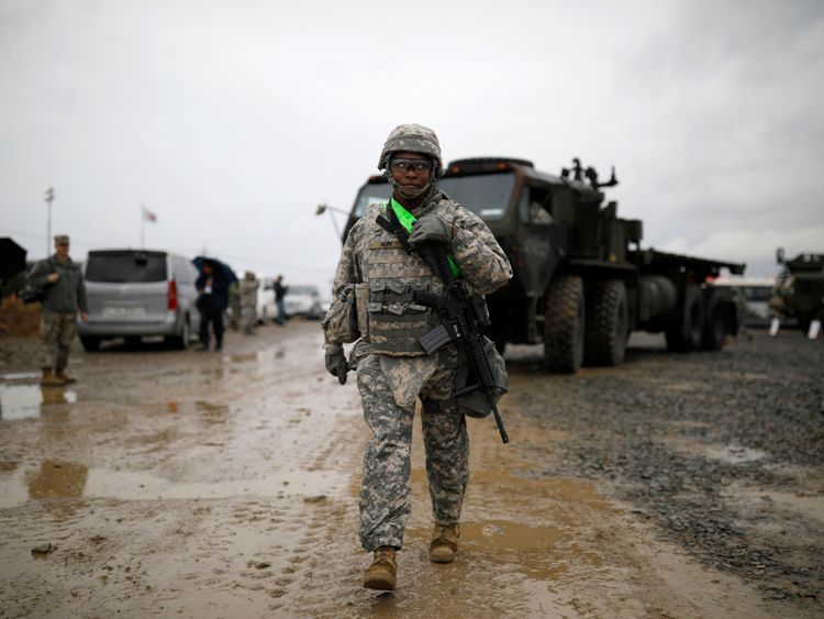 A U.S. Army soldier takes part in Operation Pacific Reach