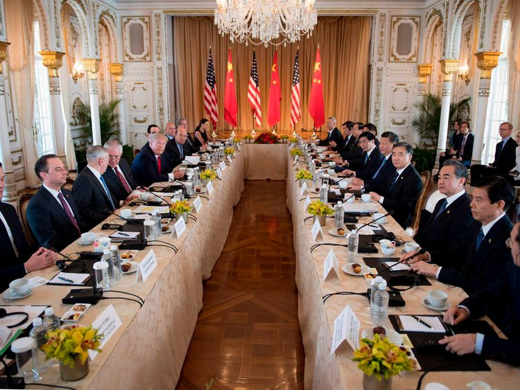 US President Donald Trump (5th L) and Chinese President Xi Jinping (5th R) hold an expanded bilateral meeting at the Mar-a-Lago estate in West Palm Beach, Florida on April 7, 2017