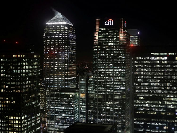 The Citibank building is seen in the financial district of Canary Wharf in London, Britain January 19, 2017