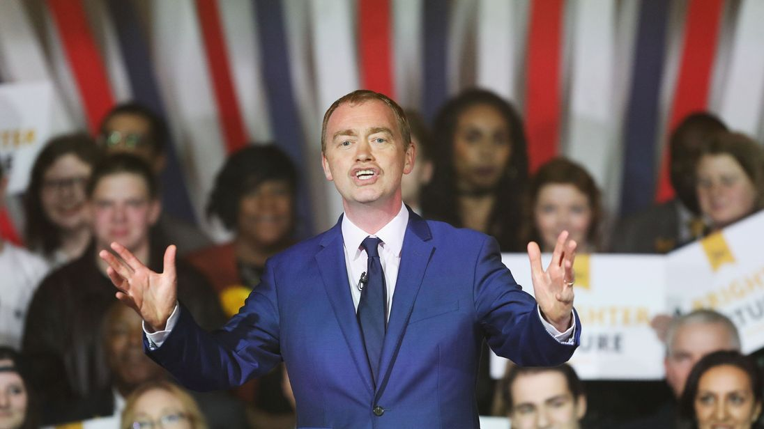 Tim Farron speaks during the Liberal Democrat manifesto launch