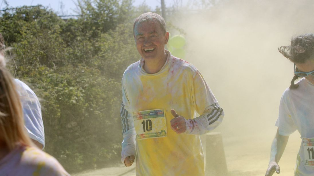 Tim Farron spent the day at the Kendal Colour Dash raising money for St John's Hospice