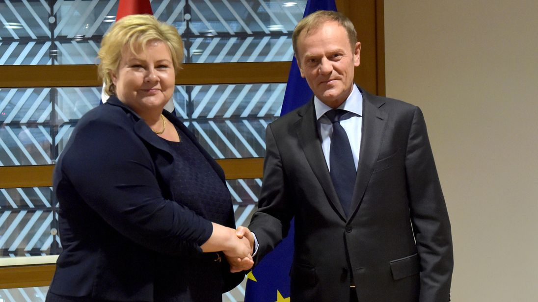 European Council President Donald Tusk meets with Norwegian Prime Minister Erna Solberg