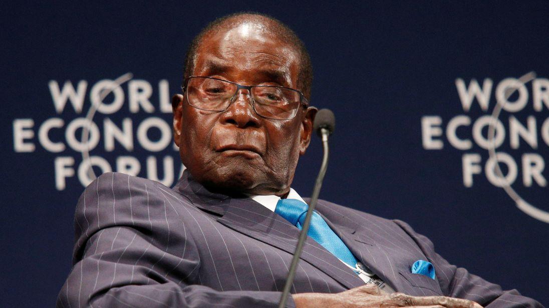 Robert Mugabe at the World Economic Forum in Durban