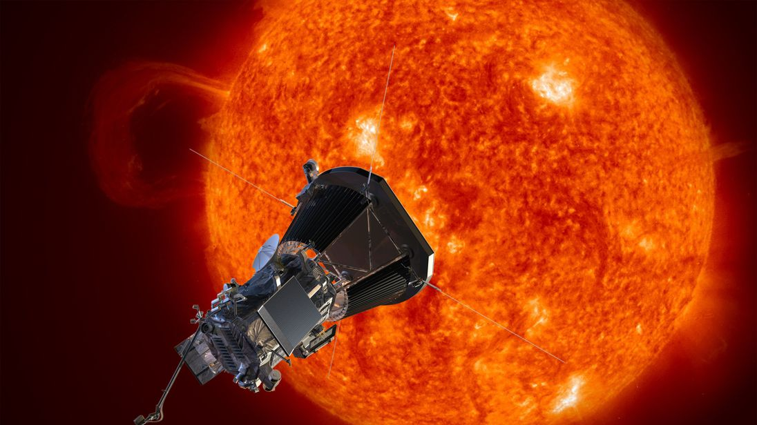 Artist's concept of the Solar Probe Plus spacecraft approaching the sun.  Pic:  Johns Hopkins University Applied Physics Laboratory