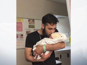 Muhammad Bilan and his new son Justin Trudeau Adam Bilan. Pic: Muhammad Bilan/Facebook
