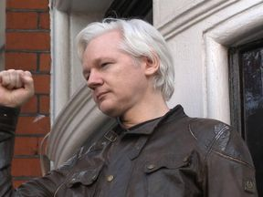 Julian Assange on the balcony of the Ecuadorian embassy