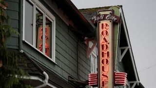 "A sign at the the Roadhouse Restaurant and Inn, used as the exterior for the Roadhouse in the ""Twin Peaks"" television series in Fall City"