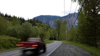 "Southeast Reing Road, the location of the ""Welcome to Twin Peaks"" sign in Snoqualmie"
