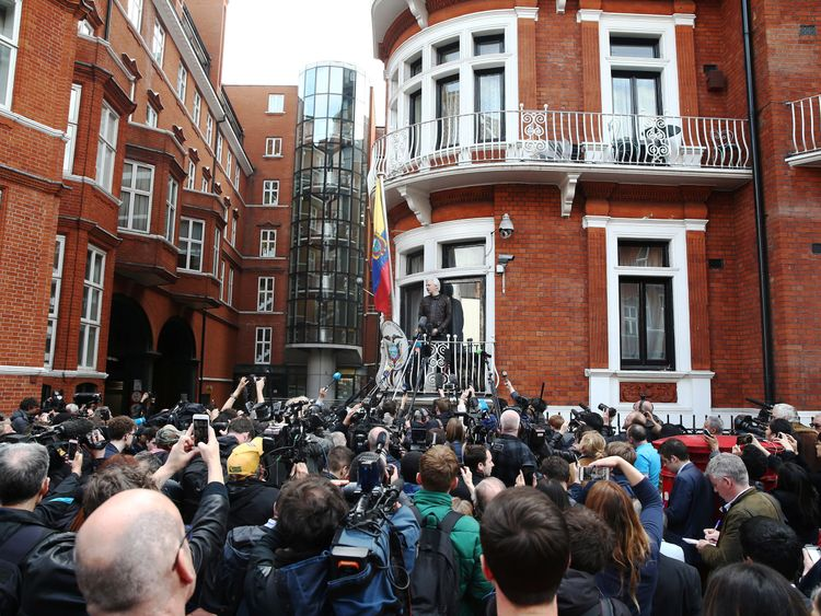 Dozens of people had gathered outside the Ecuadorian embassy to hear Assange speak