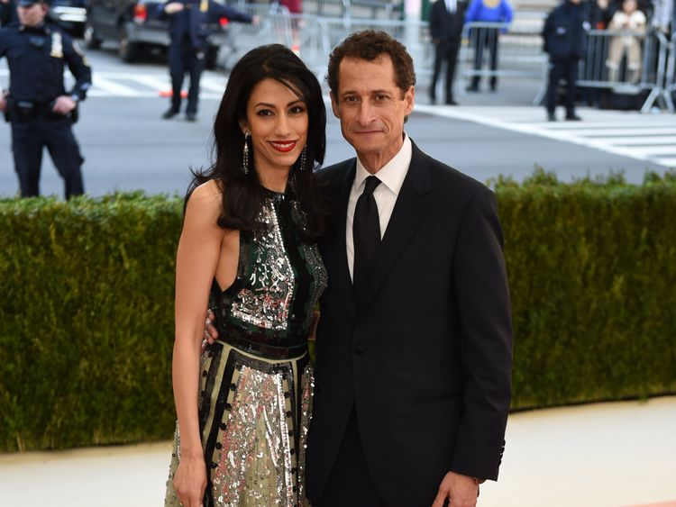 Anthony Weiner and his wife Huma Abedin pictured in New York in May 2016