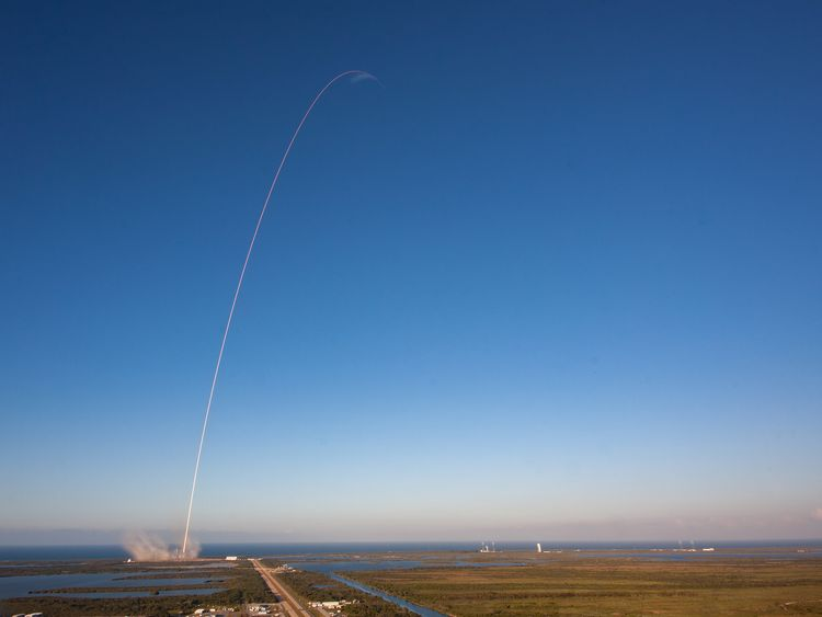 The Falcon 9 rocket's trajectory as it delivers the  Inmarsat-5 satellite to geostationary orbit
