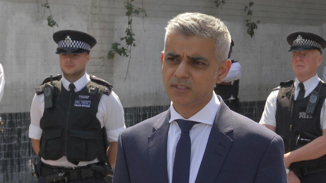 London Mayor Sadiq Khan talking in presser.
