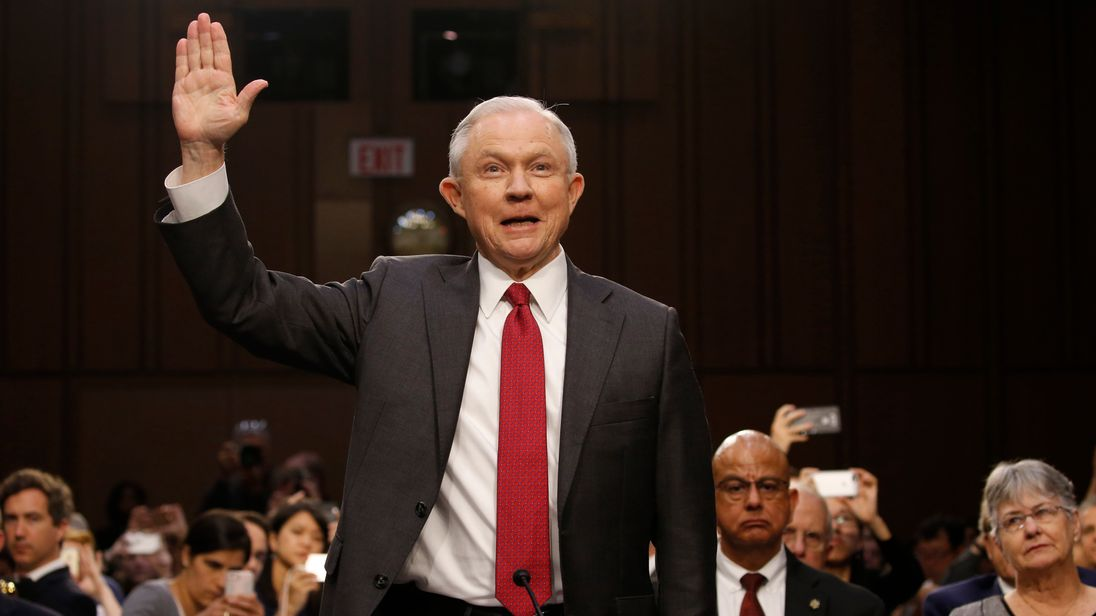 US Attorney General Jeff Sessions is sworn in to testify before a Senate Intelligence Committee