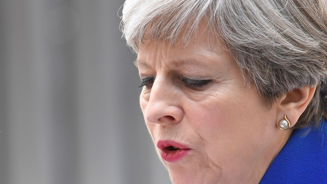 Prime Minister Theresa May makes a statement in Downing Street
